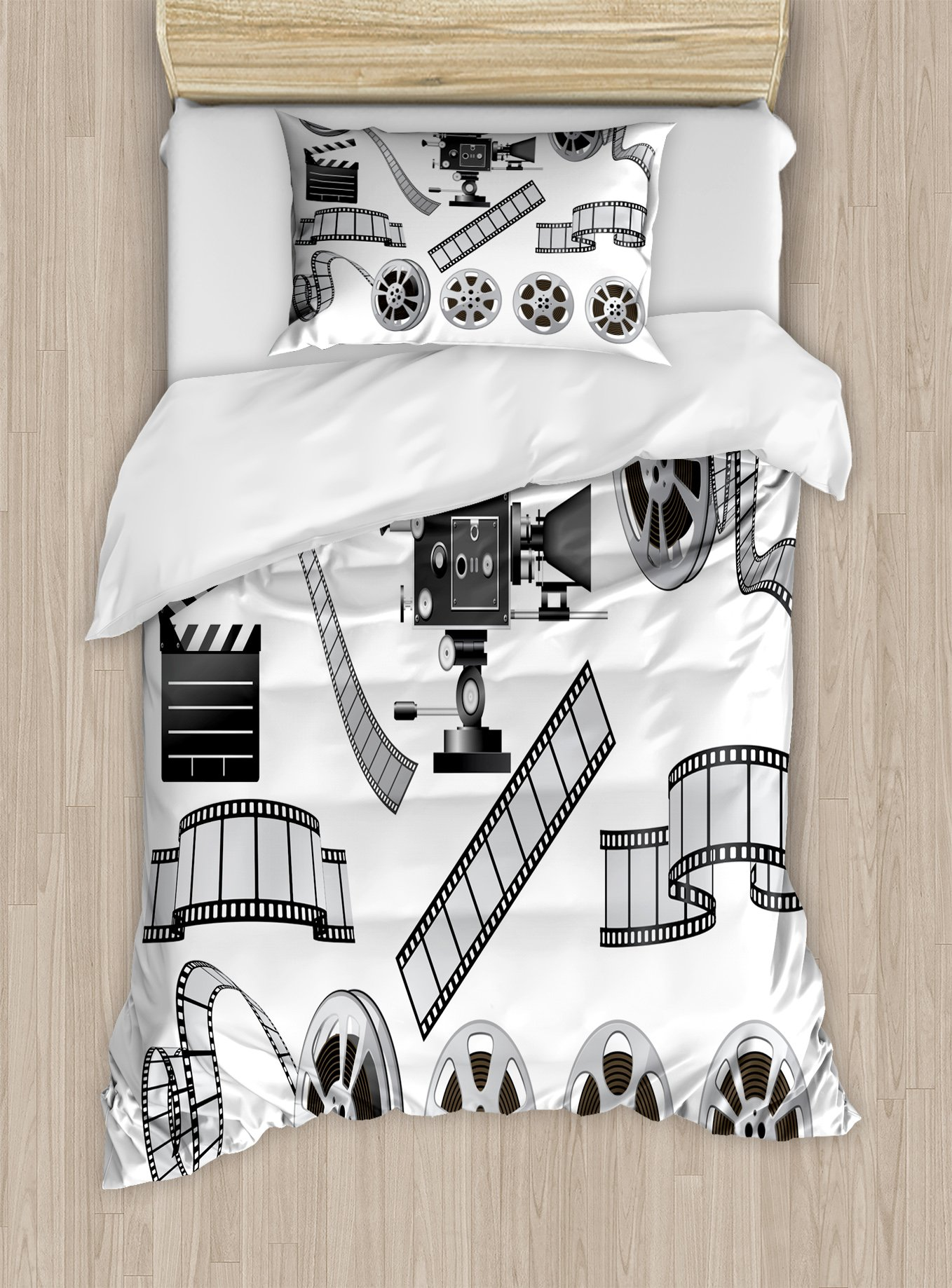Ambesonne Movie Theater Twin Size Duvet Cover Set, Movie Industry Themed Greyscale Illustration of Projector Film Slate and Reel, Decorative 2 Piece Bedding Set with 1 Pillow Sham, Grey Black