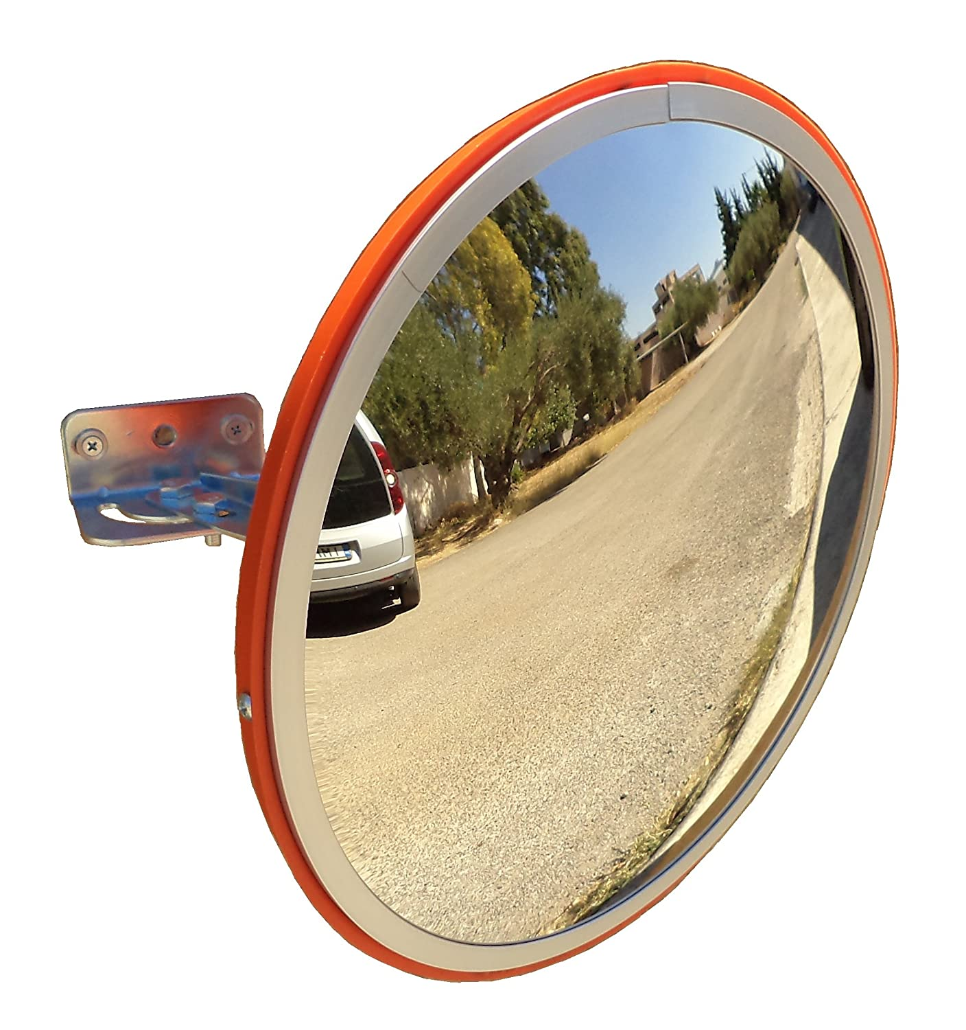"""Convex Traffic Mirror 12"""" for Driveway, Warehouse and Garage Safety or Store and Office Security, with Adjustable Wall Fixing Bracket to Eliminate Blind Spots and Corners Indoor and Outdoor"""