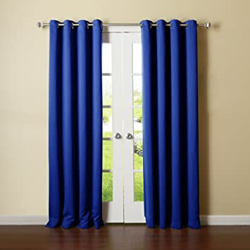 Best Home Fashion Premium Thermal Insulated Blackout Curtains   Stainless  Steel Nickel Grommet Top   Royal