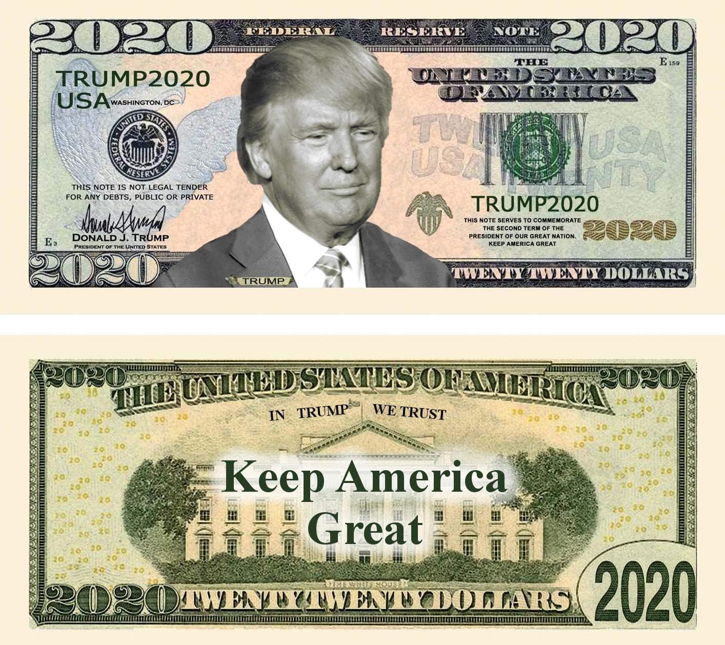Fun Gift 100 MONEY Re-Elect President  Donald Trump 2020 Dollar Bills FAKE