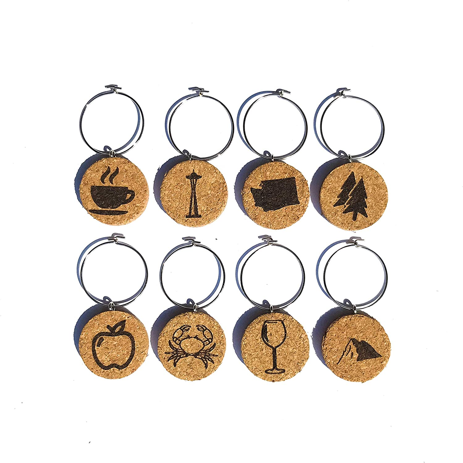 Washington Wine Charms (20+ Unique Sets) Cork Wine Glass Charms - Set of 8 Washington Charms, Washington State Themed Gifts/Souvenirs - Wine Glass Accessories, Wine Gift Basket for Wine Lover