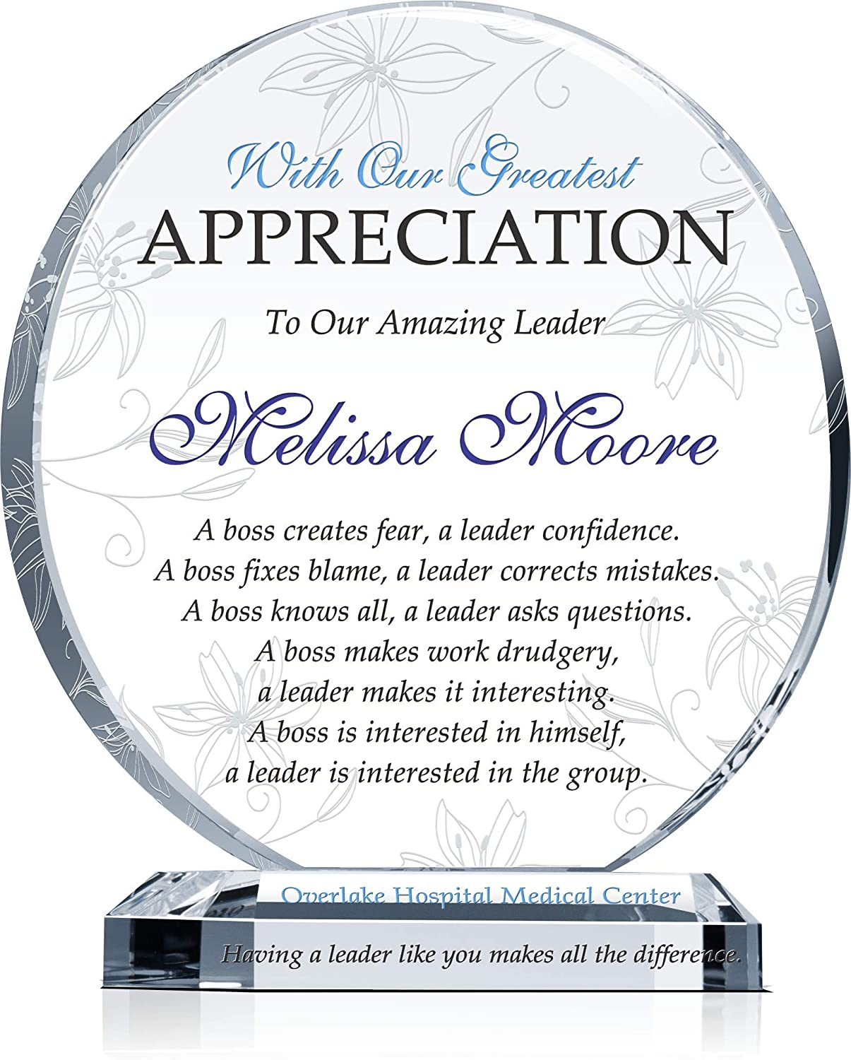Amazon Com Personalized Boss Appreciation Gift Plaque For Man Or Woman Customized With Boss Name And Leadership Quote Unique Boss Award For Him Or Her On Retirement Farewell Birthday Christmas Boss Day M