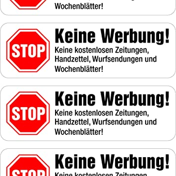rot Briefkasten Bitte keine Werbung und kostenlose Zeitungen einwerfen weiß