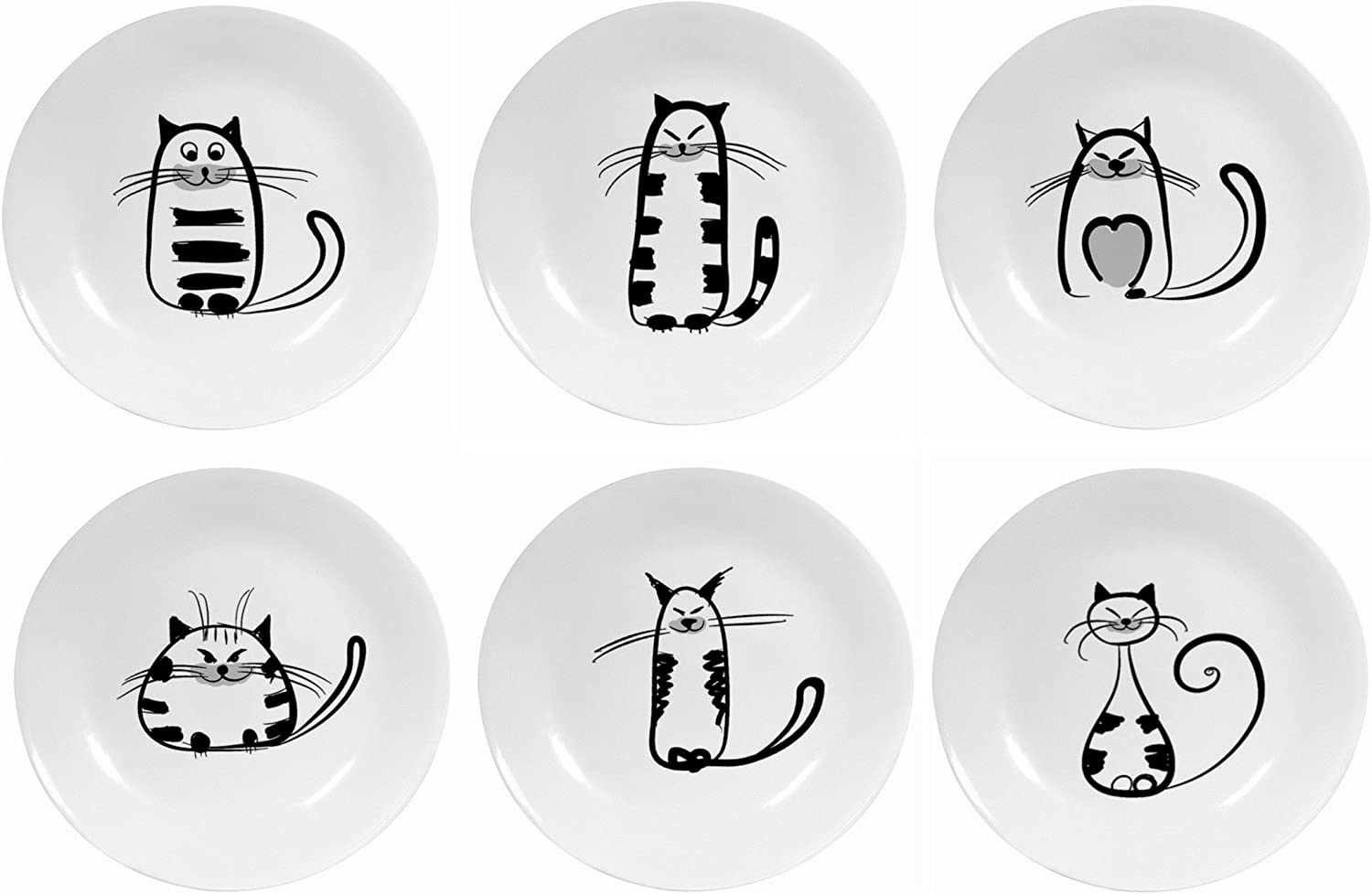 Small Size (2.8 Inch) Resuable Round Ceramic Cat Pattern Saucer Plates, Porcelain Seasoning Dishes Tea Cup Holders by Hoocozi, 6Pcs, White