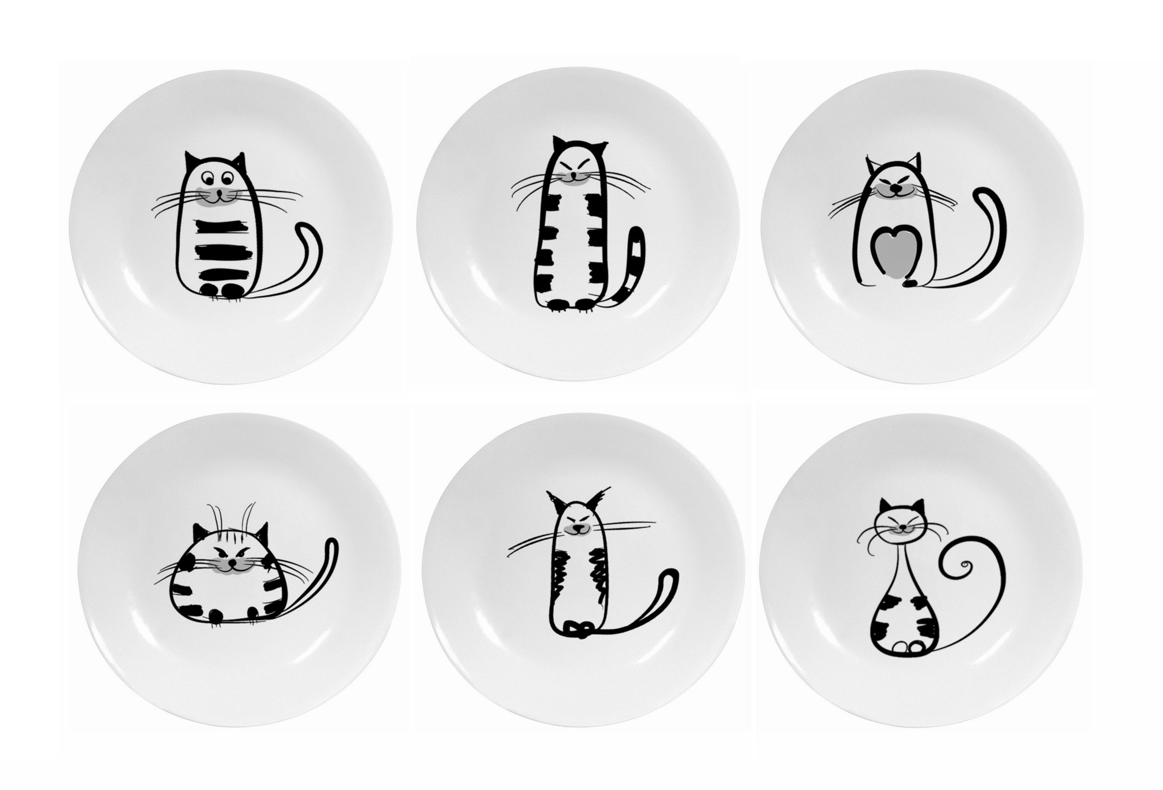 Hoocozi Small Size Resuable Round Ceramic Cat Pattern Saucer Plates, Porcelain Seasoning Dishes Tea Cup Holders by, 6Pcs, White