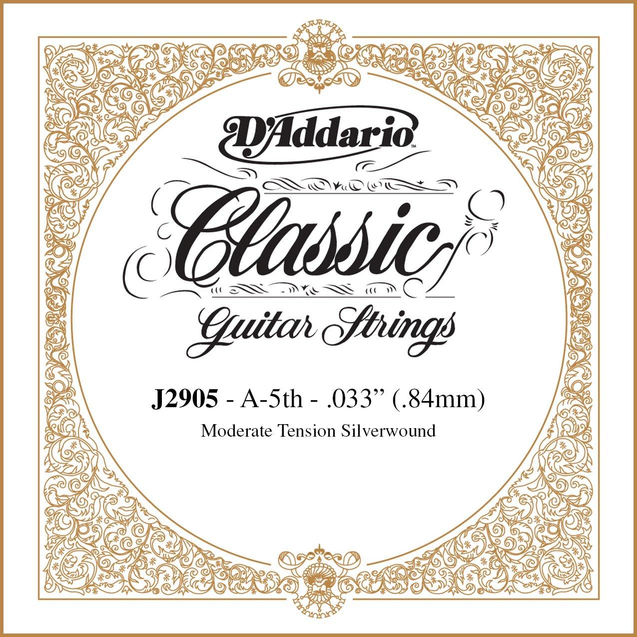 DAddario J2905 Classics, cuerda individual rectificada para guitarra clásica, tensión moderada, quinta cuerda: Amazon.es: Instrumentos musicales