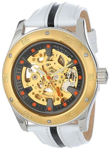 Akribos XXIV Men s AK476YG Premier Skeleton Automatic Retro Leather Strap Watch