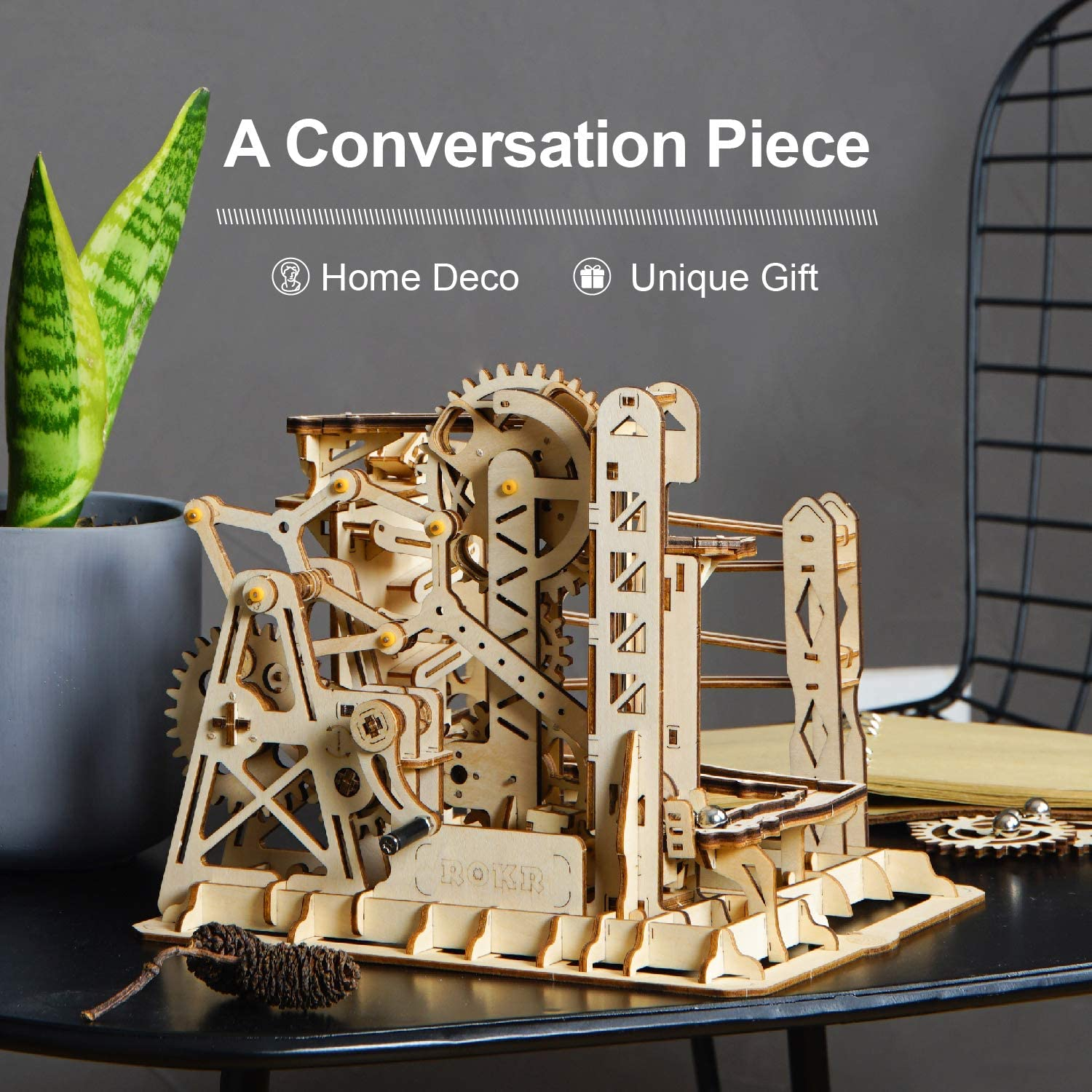 ROKR 3D Wooden Puzzle Gift for Teens and Adults Locomotive Mechanical Building Model Kit