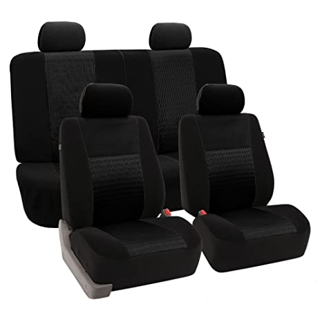 Fantastic Fh Group Fh Fb060114 Trendy Elegance Full Set Seat Covers Airbag Compatible And Split Bench Black Color Fit Most Car Truck Suv Or Van Creativecarmelina Interior Chair Design Creativecarmelinacom