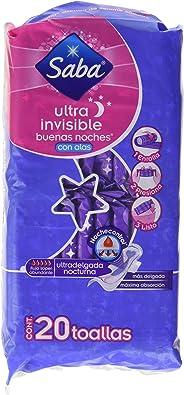 Saba Ultra Invisible con Alas; Toallas Nocturnas Ultradelgadas, Flujo Súper Abundante; 20 Toallas