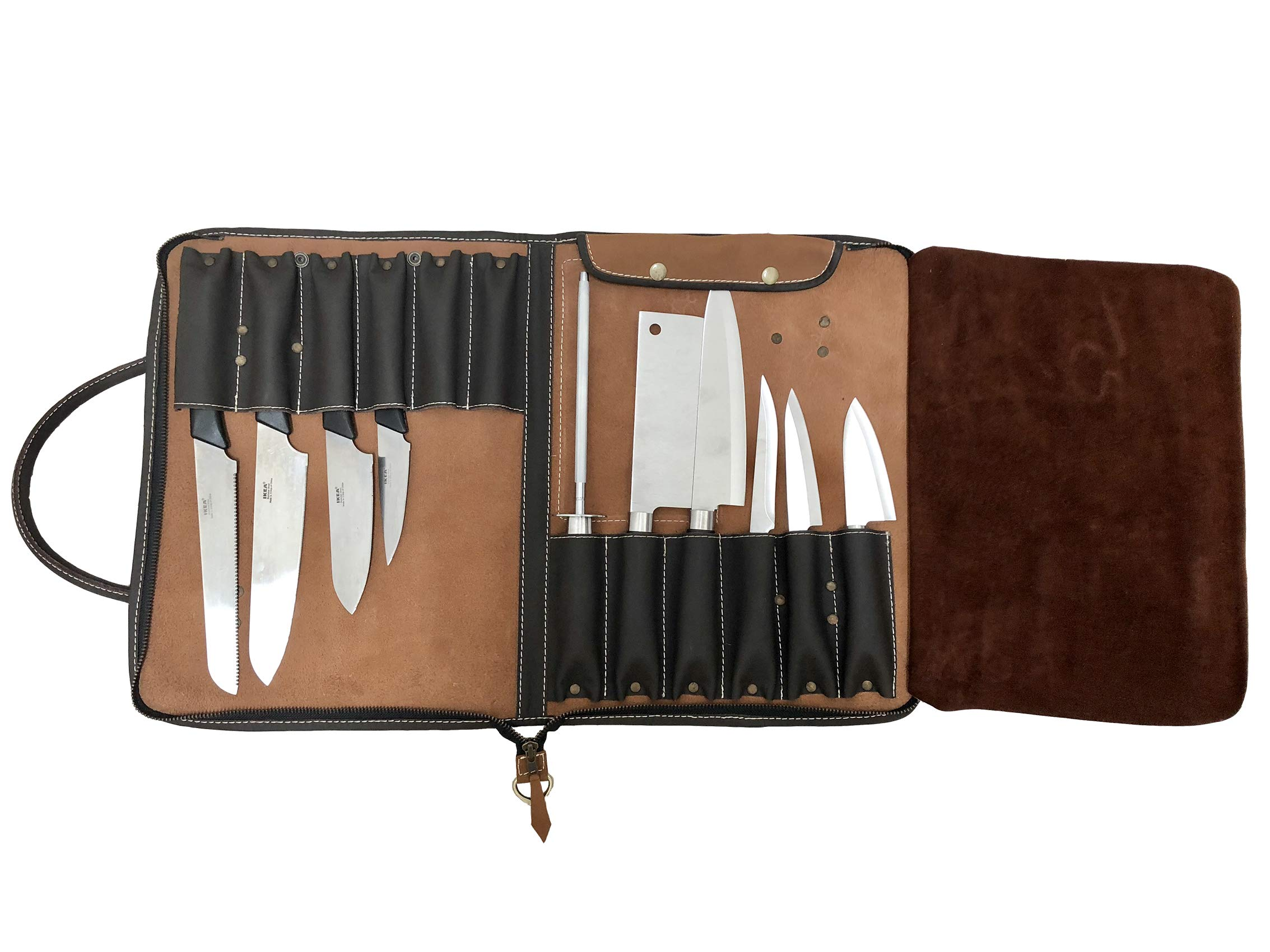 PROFESSIONAL CHEF Lightweight Genuine Premium VINTAGE TAN Leather Chef CARRYING Knife Bag/Knife Roll 12 Pockets SpaceKB016
