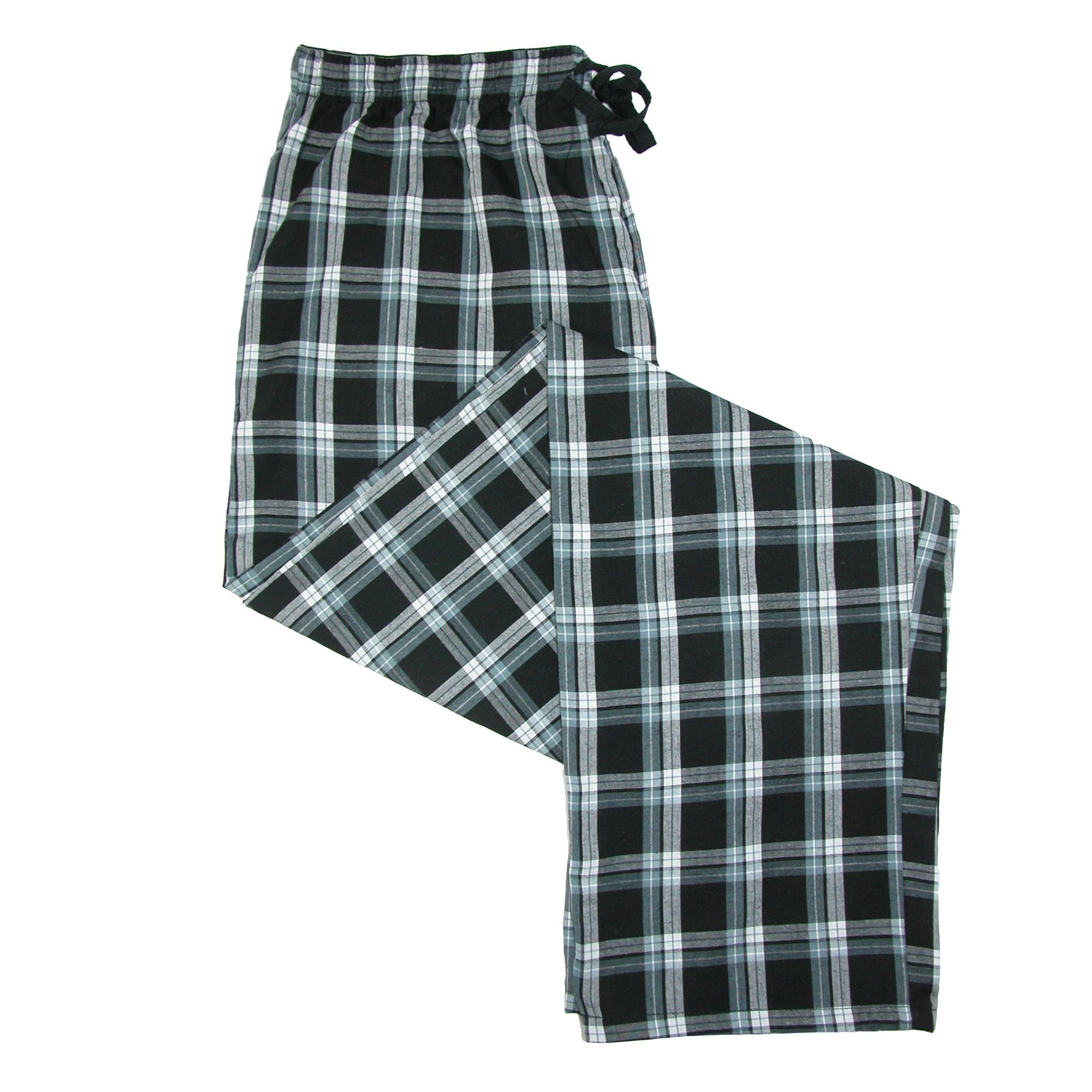 Hanes Men's Woven Plaid Drawstring Sleep Pajama Pants, XL, Black