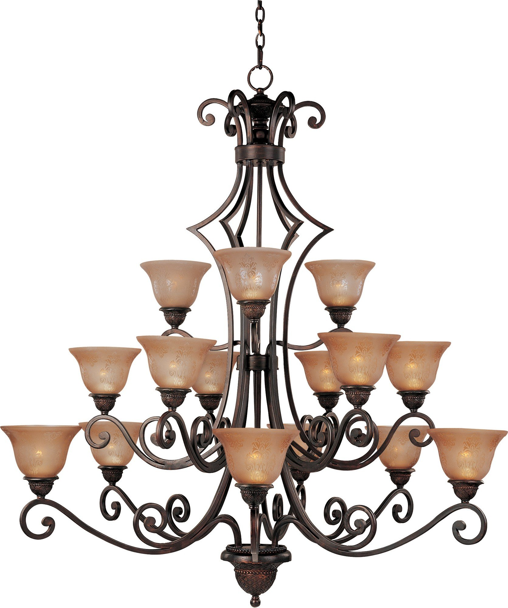 Maxim 11239SAOI Symphony 15-Light Chandelier, Oil Rubbed Bronze Finish, Screen Amber Glass, MB Incandescent Incandescent Bulb , 60W Max., Dry Safety Rating, Standard Dimmable, Opal Glass Shade Material, Rated Lumens