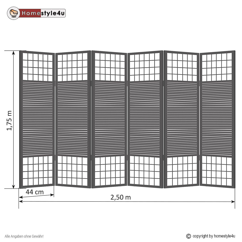 Faltbar Blickdicht Paravent Raumteiler 6 teilig Homestyle4u 191 Braun Homestyle4u/_191 Holz Bambus Reispapier
