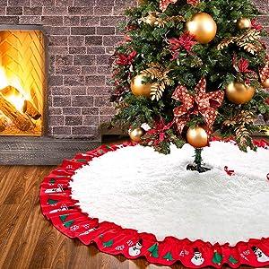 Homore Christmas Tree Skirts, White Round Fluffy Tree Mat for Holiday Decor Soft Plush Fur Tree Carpets for Xmas Tree Ornament,60 inch / 5Feet