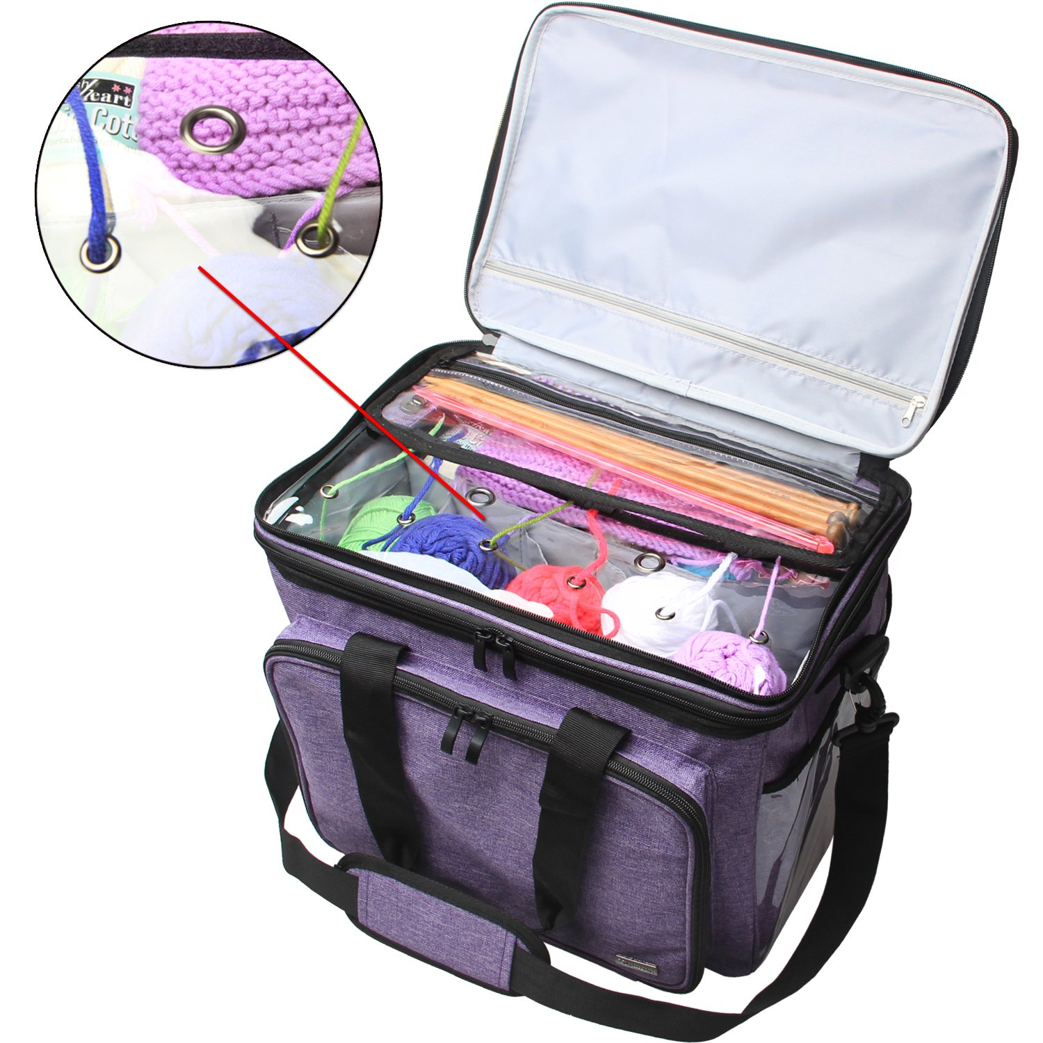 Teamoy Knitting Bag, Yarn Tote Organizer with Cover and Inner Divider (Sewn to Bottom) for Crochet Hooks, Knitting Needles(up to 14''), Project and Supplies, Purple(No Accessories Included) by Teamoy (Image #4)