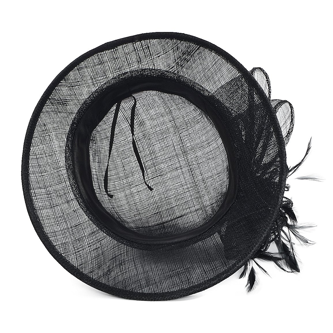 FORBUSITE Occasion Church Wedding Sinamay Cloche Hats for Women SM122 (Black) by FORBUSITE (Image #4)