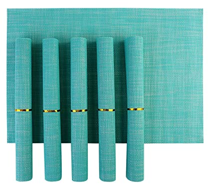 HOKIPO PVC Dining Table Kitchen Placemats (45 x 30 cm, Blue) - 6 Pieces