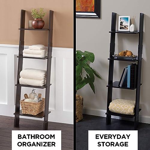 Zenna Home Ladder Style Bathroom Linen Tower, Espresso