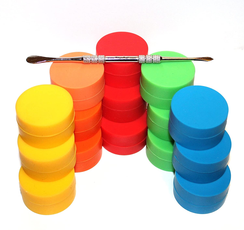 15 x Non-stick Storage Silicone Container Jar Matte outside & Shiny round inside food grade + TitanOwl Carving tool, non stick Heat resistant Kasebi SilCon-FDA-15