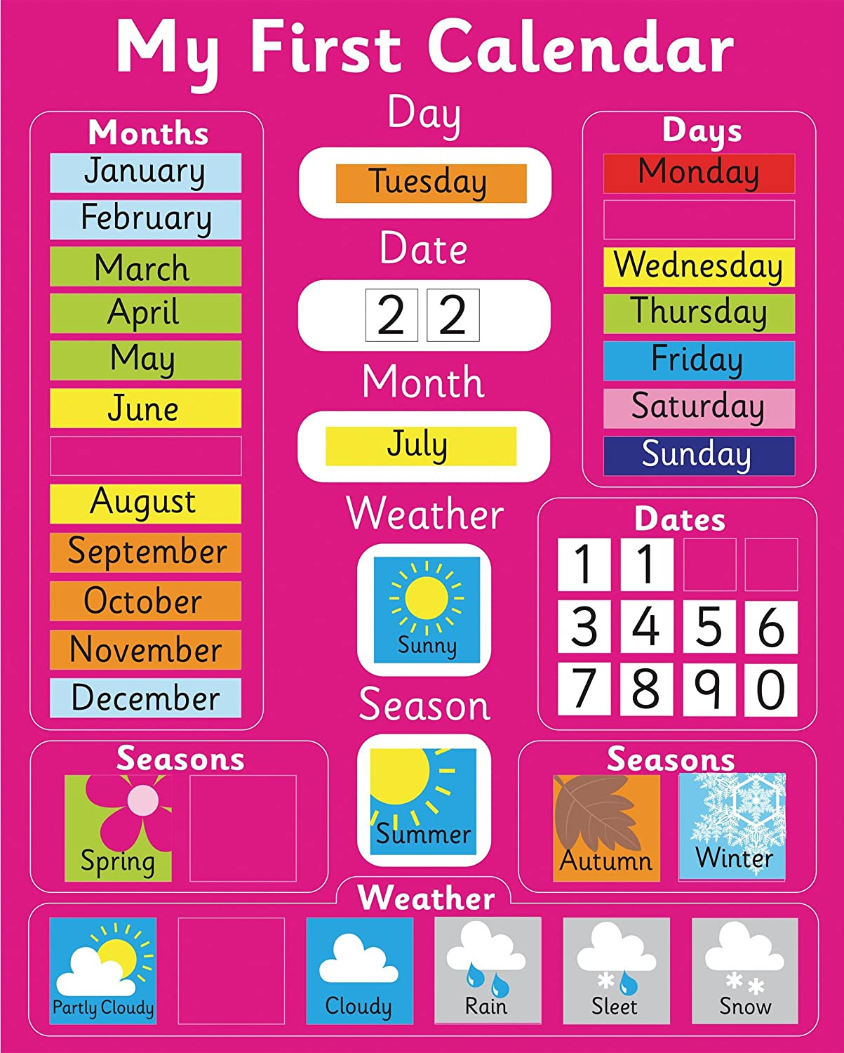 Magnetic My First Learning Calendar - PINK