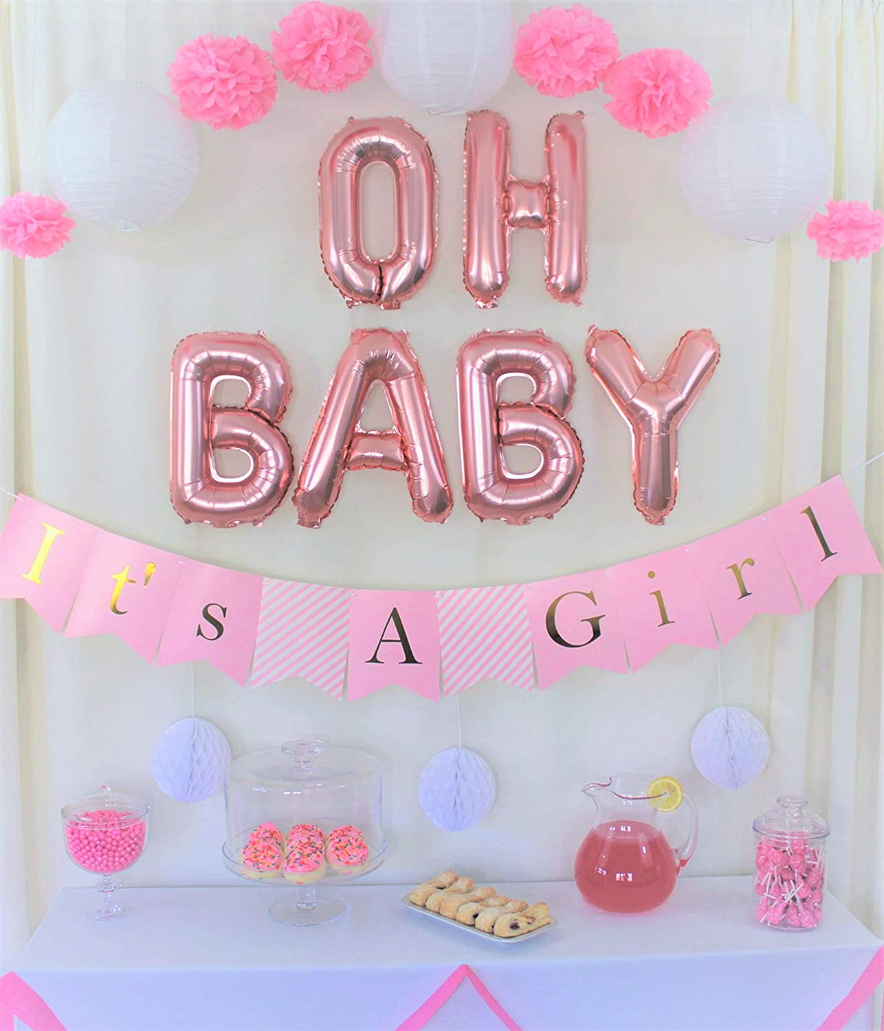 Sweet Baby Girl Party Banner,Baby Shower Decorations for Girl,Baby Party Suppliesr Gifts with Pink Shower Banner