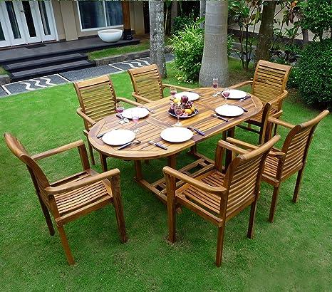 Salon de jardin en Teck 6-8 places ovale huilé \'Bali Raja ...