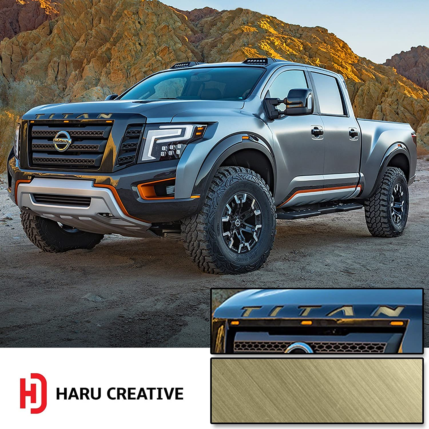 Front Hood Grille Emblem Letter Insert Overlay Vinyl Decal Sticker Compatible with and Fits Nissan Titan XD 2016 2017 2018 Metallic Brushed Aluminum Black Loyo Haru Creative