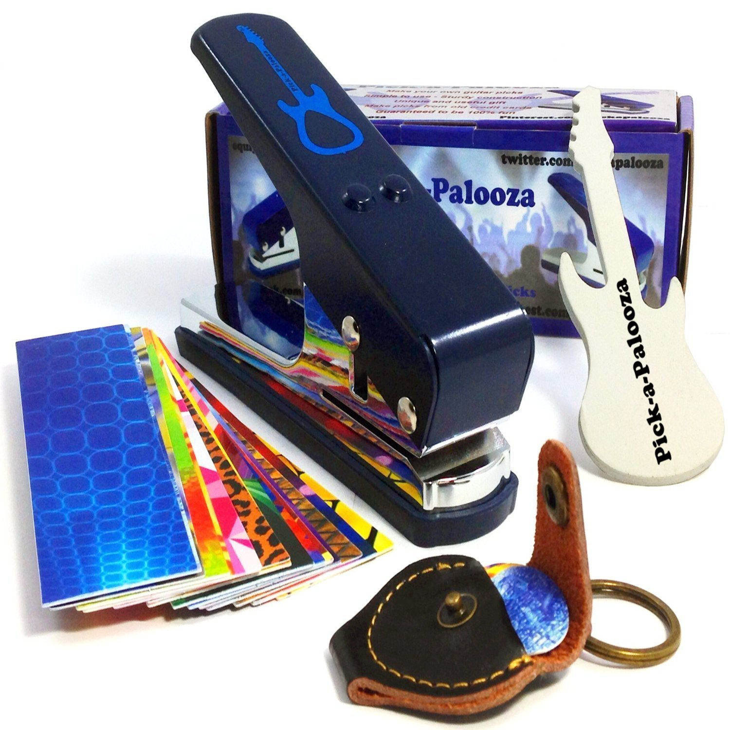 Pick-a-Palooza DIY Guitar Pick Punch Mega Gift Pack - the Premium Pick Maker - Leather Key Chain Pick Holder, 15 Pick Strips and a Guitar File - Blue by Pick-A-Palooza