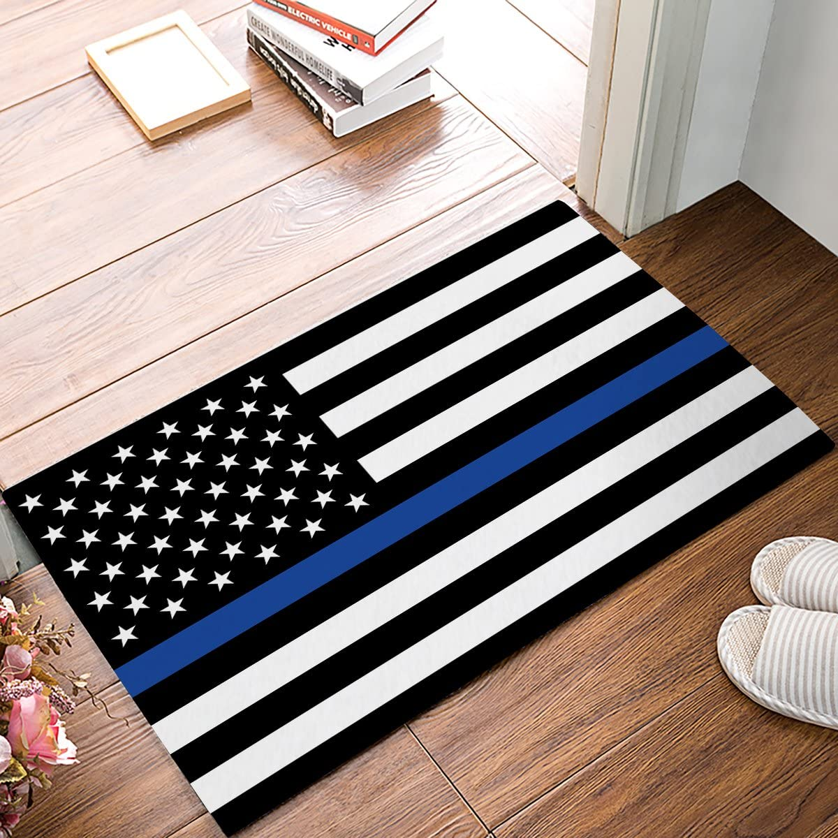 "FAMILYDECOR Doormat for Entrance Way Indoor/Bathroom/Front Door Area Floor Mat Rugs Rubber Non Slip Absorb Kitchen Runner Carpet, Blue Line Us Flag Honoring Men and Women, 30""x18"""