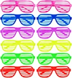 ILOVECOS Moda 80 de Punta Plana de Juguete Gafas de sol Disfraz Gafas de Persiana para Fiesta Disfraces 6 Colores, 12 Pares