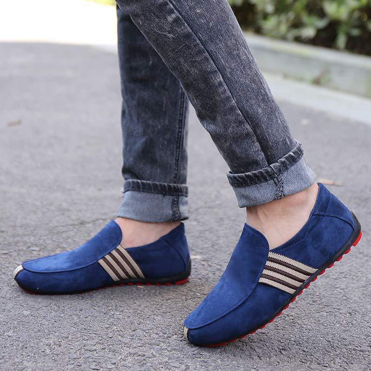 crazy-shop New Spring Men Suede Leather Loafers Driving Shoes Moccasins Summer Mens Casual Shoes Flat Breathable,Fabric Grey,7,Spain