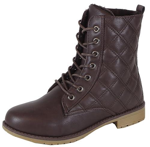 chestilla – einfarbige Mujer Desert Boots con patrón acolchado costuras Botines cordones botas 36 37 38