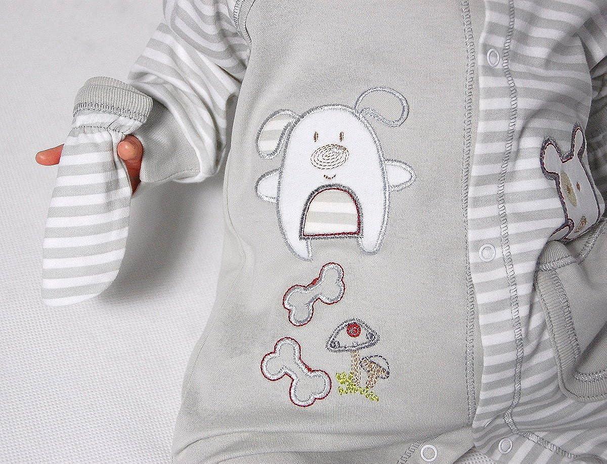 Mis. Baby bekleidungs Set paatric de 3 piezas Body con gorro + Manoplas manga larga 1940 gri gris multicolor Talla:0-3 meses: Amazon.es: Bebé