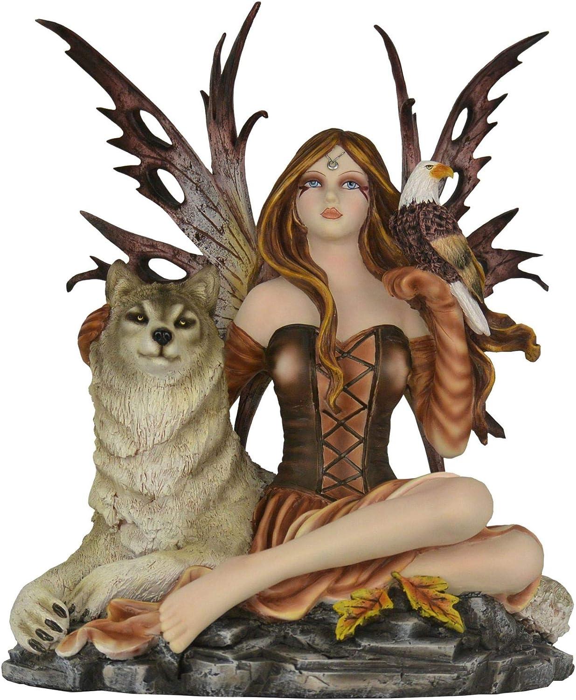 HT 34 x 32 cm Grande FEE Loup ET Aigle - Figurine Loup Statuette FEE ALYA
