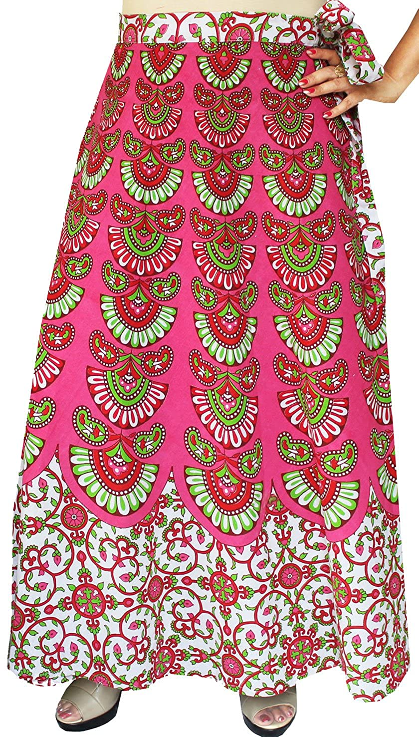 a7158d9b6 Women's Printed Long Indian Cotton Wrap Around Skirts (Pink) at Amazon  Women's Clothing store:
