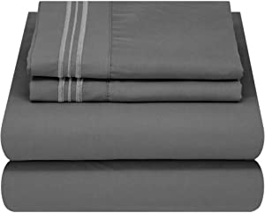 Mezzati Luxury Bed Sheet Set - Soft and Comfortable 1800 Prestige Collection - Brushed Microfiber Bedding (Gray, Cal King Size)