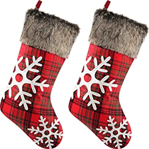 Sunshane 2 Pieces Christmas Stockings 18 Inch Xmas Mantel Fireplace Hanging Stockings Decoration Stockings with Plush Faux Fur Cuff for Christmas Party Decorations, Snowflake