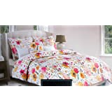 Cynthia Rowley Bedding 3 Piece King Duvet Cover Set Pink Yellow Gray Floral Pattern on White