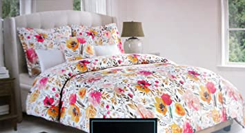 Marvelous Cynthia Rowley Bedding 3 Piece King Duvet Cover Set Pink Yellow Gray Floral  Pattern On White