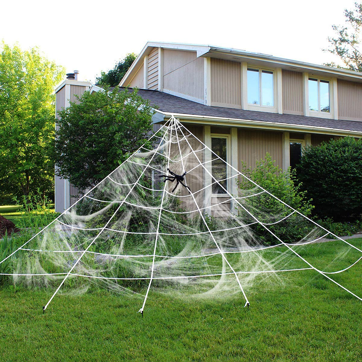 Love66 Giant Spider Web with Super Stretch Cobweb Set, Halloween Decorations Love66-123