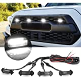 LED Grille Lights with Harness & Fuse for Toyota Tacoma TRD PRO Front Grille 2016 2017 2018 (4PCS, Black Shell with…