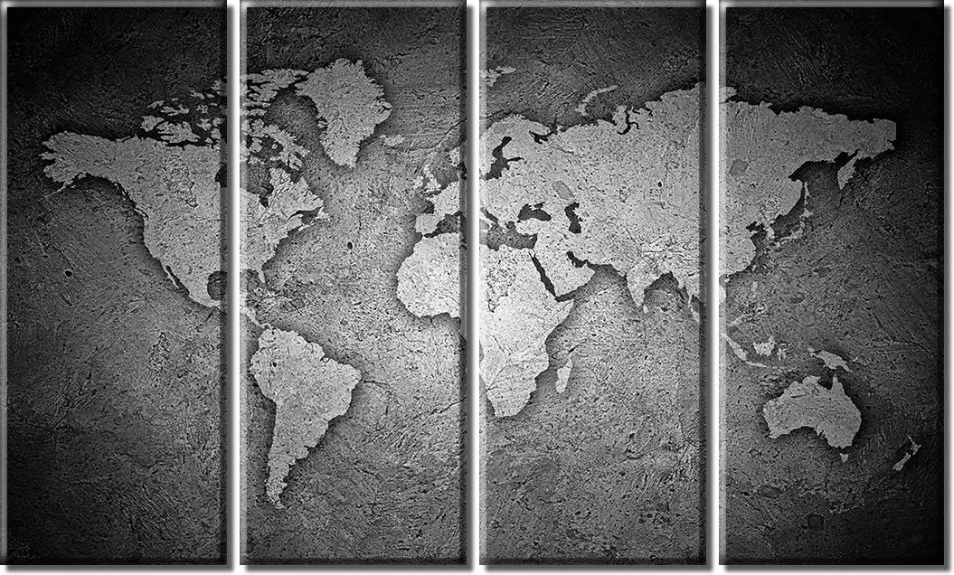Amazon picture sensations framed huge 4 panel stone world map amazon picture sensations framed huge 4 panel stone world map canvas art black and white posters prints gumiabroncs Choice Image