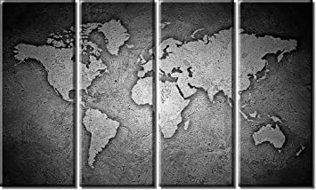 Amazon picture sensations framed huge 4 panel stone world map picture sensations framed huge 4 panel stone world map canvas art black and white gumiabroncs Choice Image