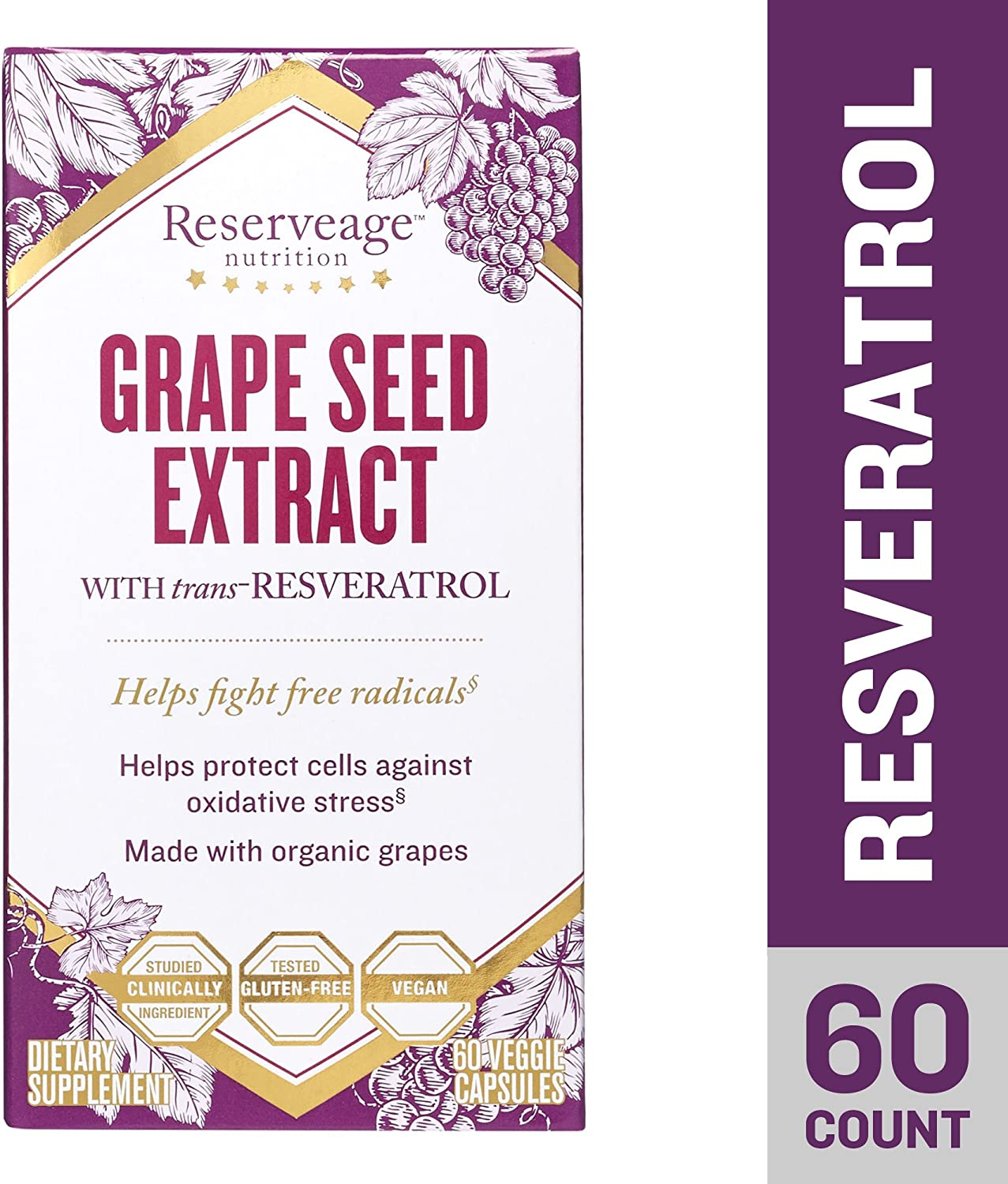 Reserveage, Grape Seed Extract with Resveratrol, for Antioxidant Protection, 60 Capsule