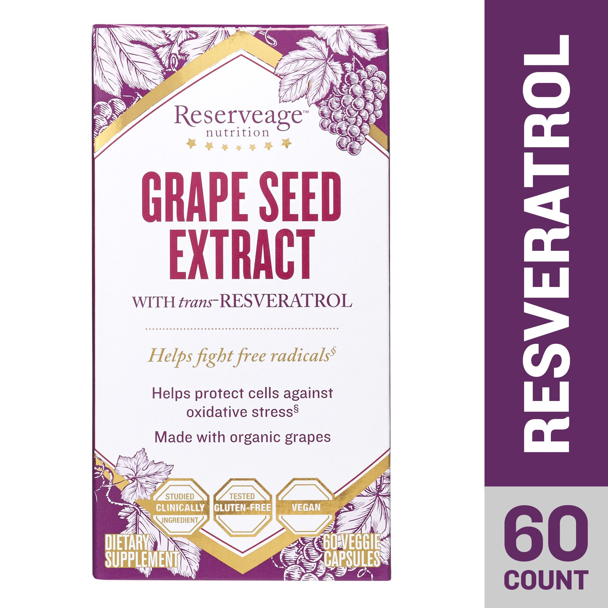 Reserveage - Grape Seed Extract with Resveratrol, for Antioxidant Protection, 60 Capsule