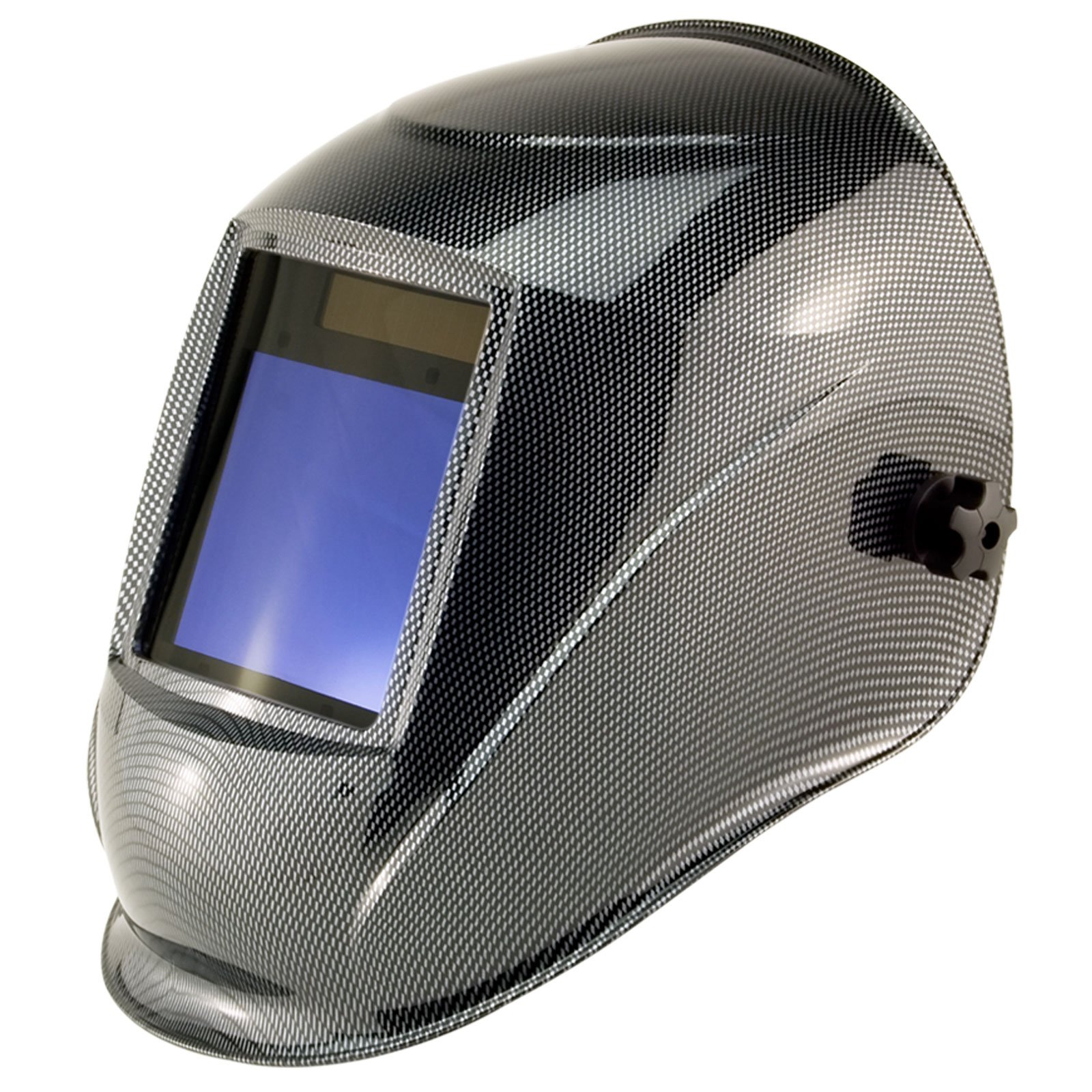 True-Fusion Big-1 Carbon IQ2000 Solar Powered Auto Darkening Welding Helmet Hood Grind mask with Massive View Area (98mm x 87mm - 3.85x3.45 inches) FREE Storage Bag, Spare Lenses and Spare Sweatband included