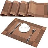 Sets de table (Ensemble de 4), Antidérapants, anti usure, résistant à la chaleur, PVC lavable, anti encrassement et lavable, sets de table pour cuisine ou pour table à manger, couleur bruns, 30x45cm (4, 4pc)