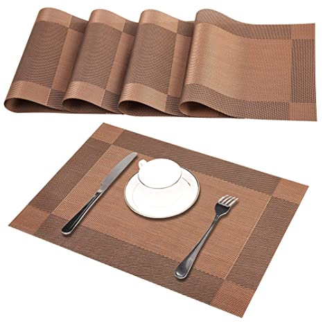 4x Heat-resistant Dining Table Placemat Anti-skid Washable PVC Mat 30x45cm Large