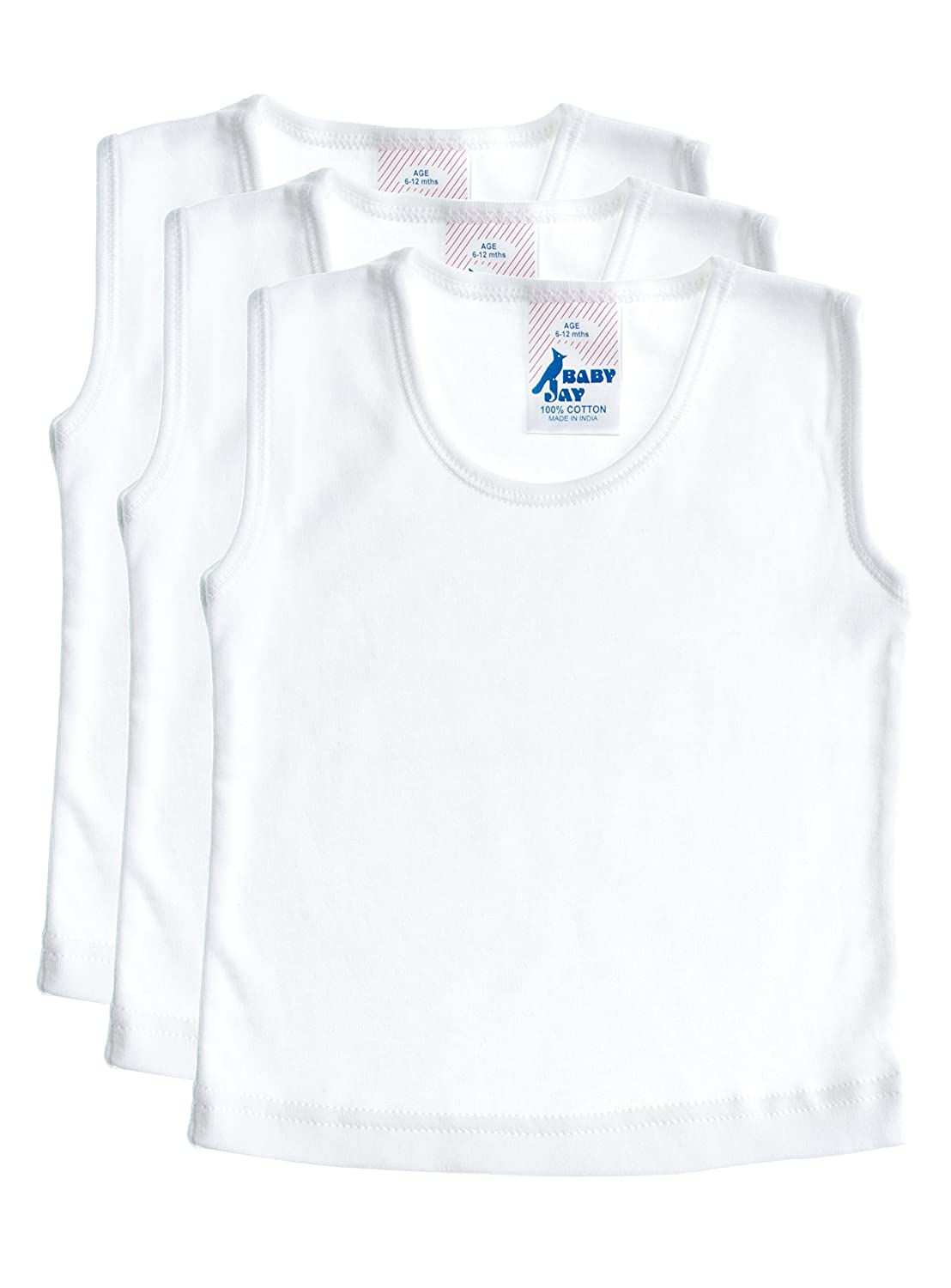 Baby Jay Baby and Toddler Tank Top 3 Pack - White Soft Cotton Sleeveless T-Shirt Undershirt - Boys and Girls Tee WTT-3PK